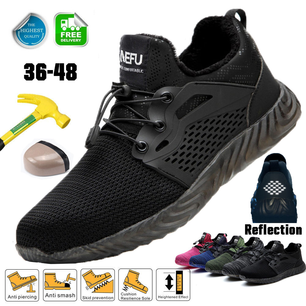 Winter Safety Shoes With Steel Toe Lightweight Men Indestructible Ryder Immortal Shoes Women Working Snow Boots Mesh Sneakers