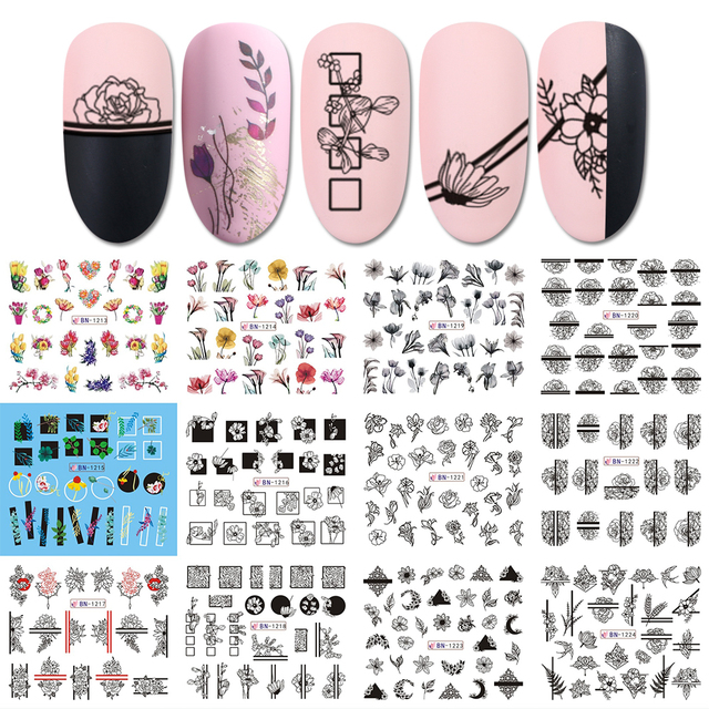 12 Designs Nail Art Slider Black Lace Flower Full Wrap Sticker Water Transfer Decal Decor Polish Manicure Tattoo LABN1213 1224 2