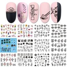 12 diseños de pegatinas para decoración de uñas, deslizador, flor de encaje negra, envoltura completa, pegatina de transferencia al agua, esmalte, manicura, tatuaje, LABN1213 1224 2