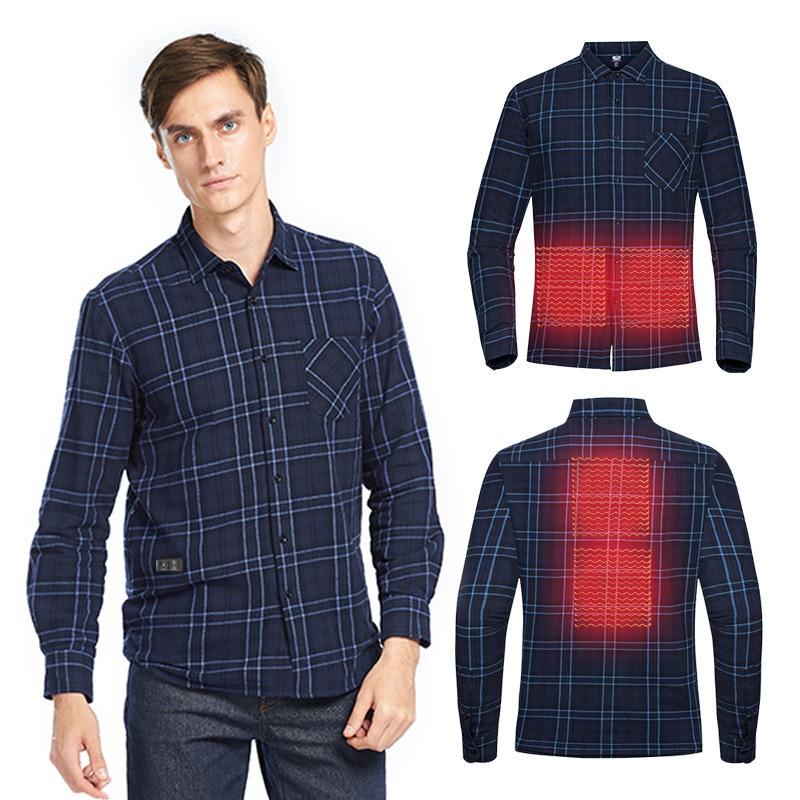 USB Electric Charging Heating Plaid Shirt Plus Velvet Long Sleeve T-shirts Hiking Camping Intelligent Temperature Control Shirt