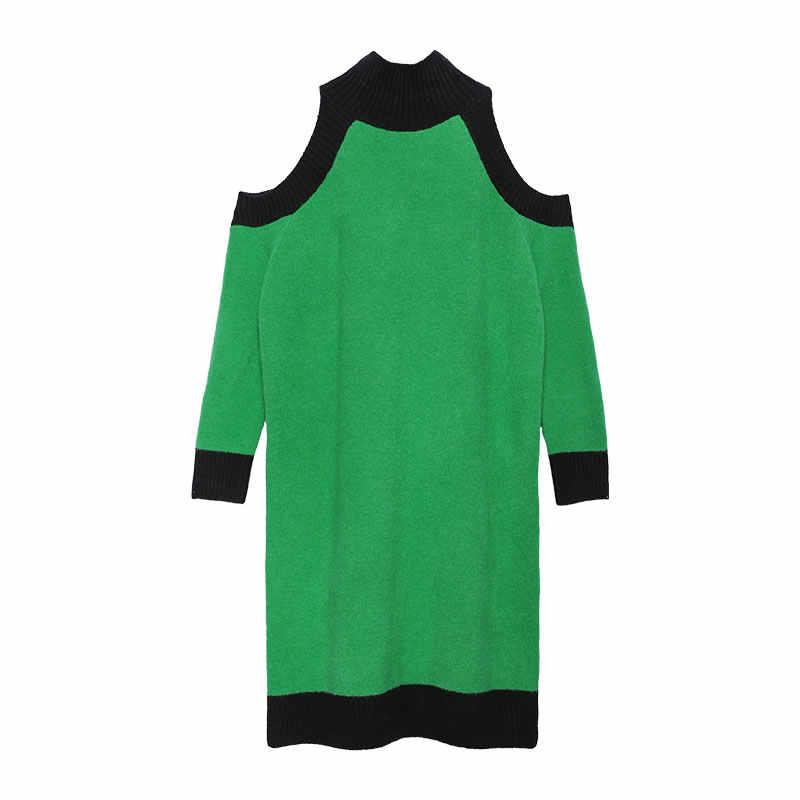 XITAO, сексуальное трикотажное платье с открытыми плечами, пэчворк, хит цвета, женская одежда, осень и зима 2019, элегантное платье, новинка XJ2383