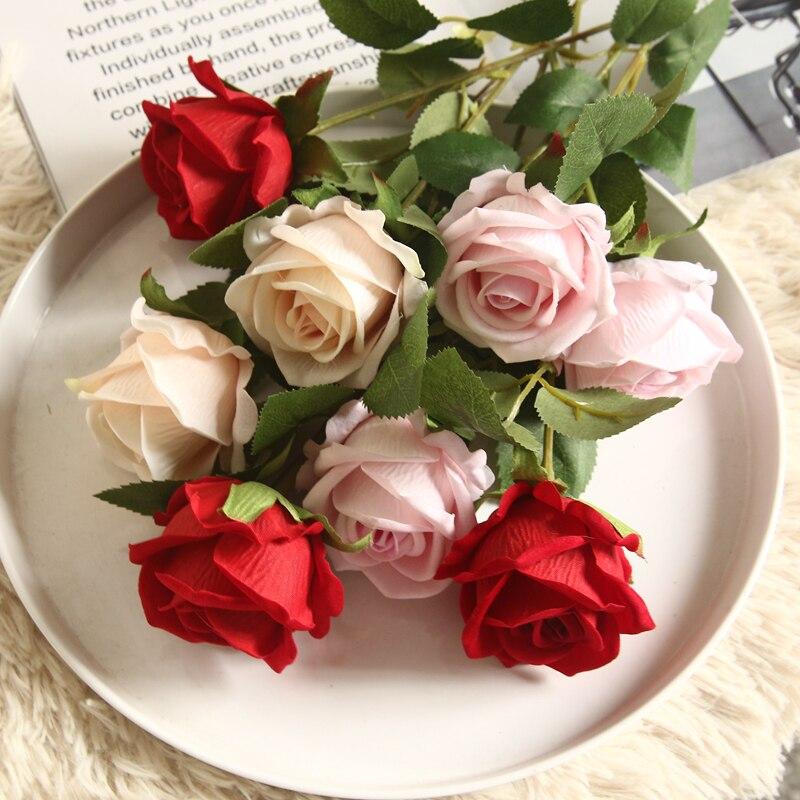 51 см красный букет из искусственных шелковых роз для свадьбы, невесты, держащей дома, поддельные белые цветы, дешевые украшения для домашнег...