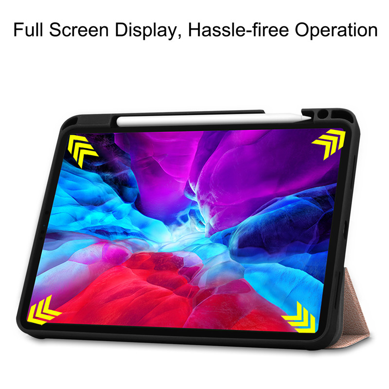 iPad For iPad 12 Pro TPU Smart For 9 PU Back Painted Case Stand Cover Case Leather 2020