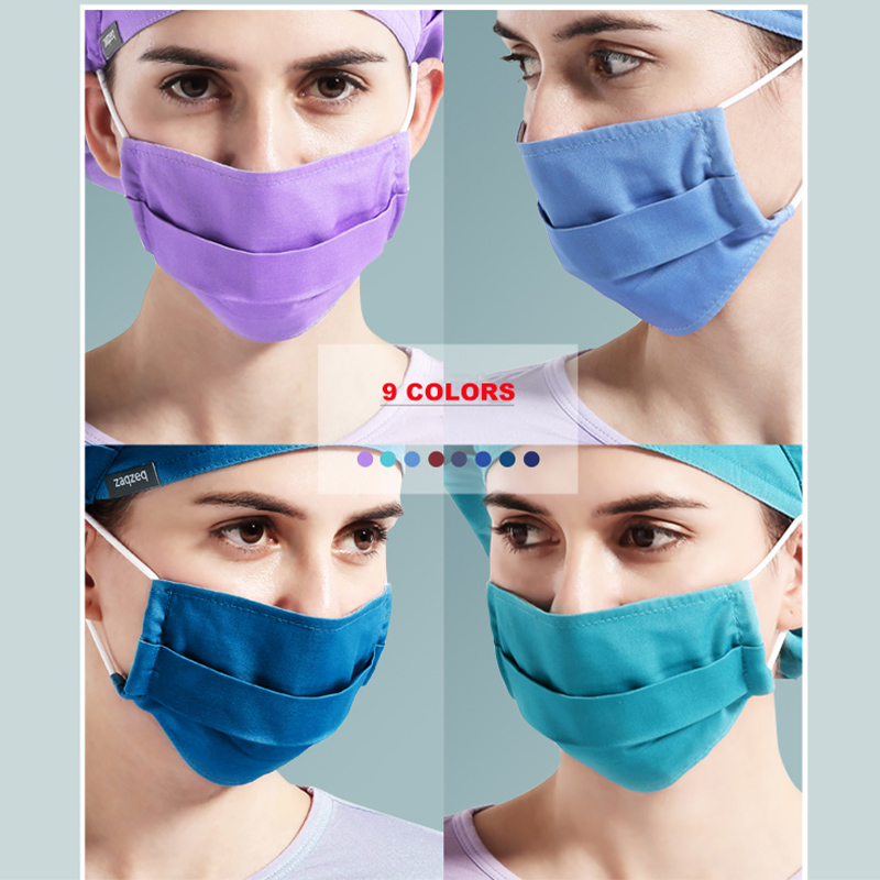 9 Solid Colors Polyester Masks  Elastics Work Accessories 2 Layers Prevent Dust Mask Normal Masks