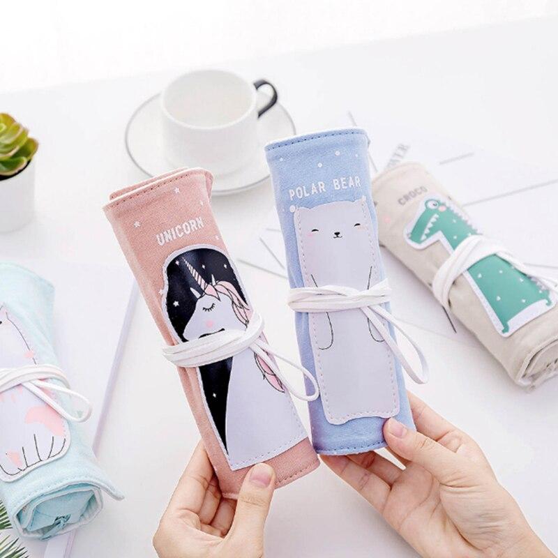 Unicorn Pencil Case For girls Canvas School Roll Up Bag Portable Box Supplies material escolar