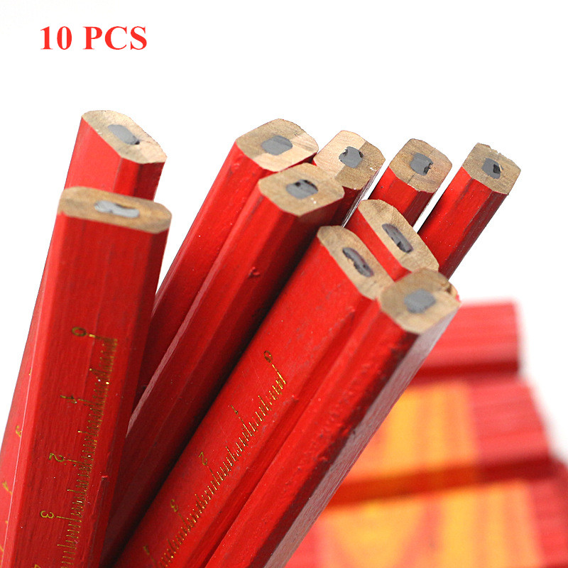 10pc Black Lead Carpenter Pencils DIY Builder Joiners Woodworking Craft Thick Core Flattened Mark Custom Pen Office Stationery