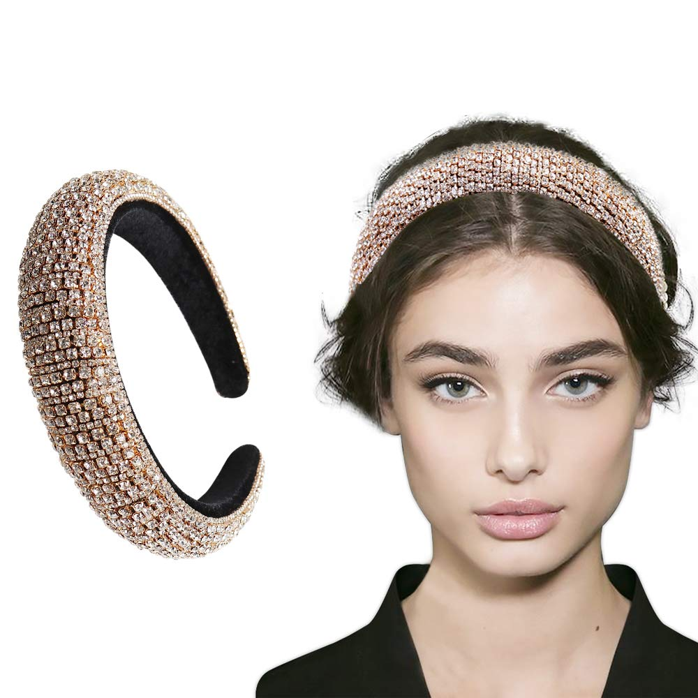 Luxurious Bling Hair Accessories Fashion Wide Side Women Fancy Hairband Crystal