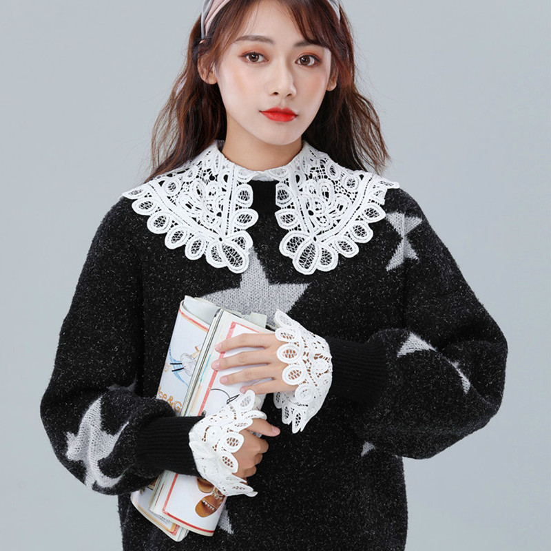 New Trendy Detachable Shirt Flare Fake Sleeves White Floral Sweet Fake Wrist Cuffs Decorative Women Clothing Accesories