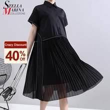 Nieuwe Mode Vrouw Zomer Koreaanse Stijl Zwarte Geplooide Shirt Jurk Chiffon Patchwork Revers Dames Leuke Casual Midi Jurk Gewaad 6168