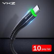10 sztuk partia YKZ LED 3A rodzaj usb C szybki kabel przewód ładowania typu C dla Samsung Xiaomi usb do telefonu komórkowego C USB-C ładowarka kablowa przewód tanie tanio Nylon USB A Podświetlany Ze wskaźnikiem LED Cable For Samsung S9 Note 9 Xiaomi Mi 8 Huawei P20 Oneplus 5t Nokia 8 For Huawei Mate 20 Lite 20 Pro P20 Pro One Plus 6 t 6t 5t Type C Cable