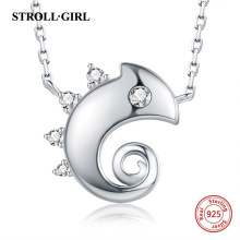 Strollgirl New Arrival 100% 925 sterling silver Cute Animal Chameleon Necklace Authentic Women Sterling Silver Jewelry