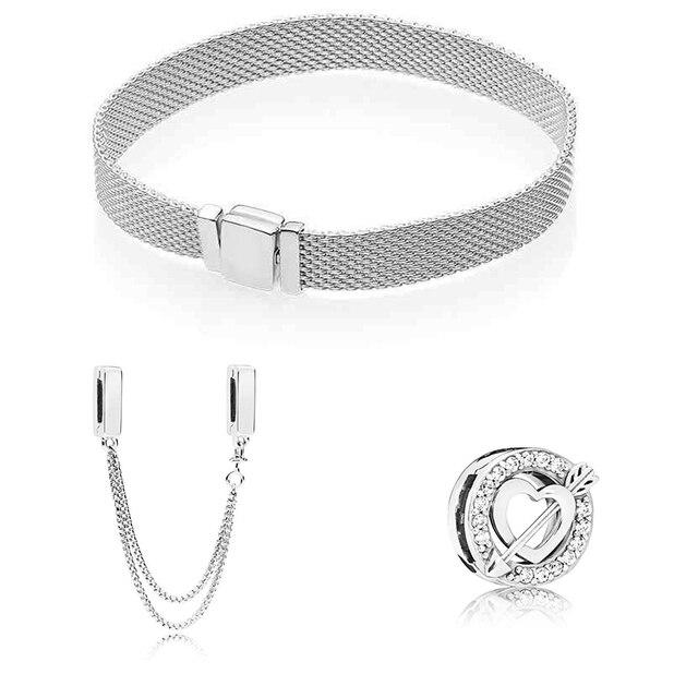 S925 כסף צבע בטיחות שרשרת וקופידון חץ Fit מקורי צמיד מתנת סט לנשים חרוז קסם צמיד DIY תכשיטים
