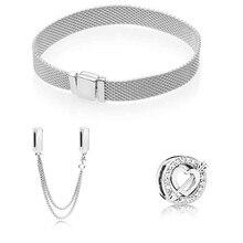 S925 الفضة اللون سلسلة أمان و كيوبيد السهم صالح الأصلي سوار طقم هدايا للنساء حبة سوار Charm بها بنفسك مجوهرات