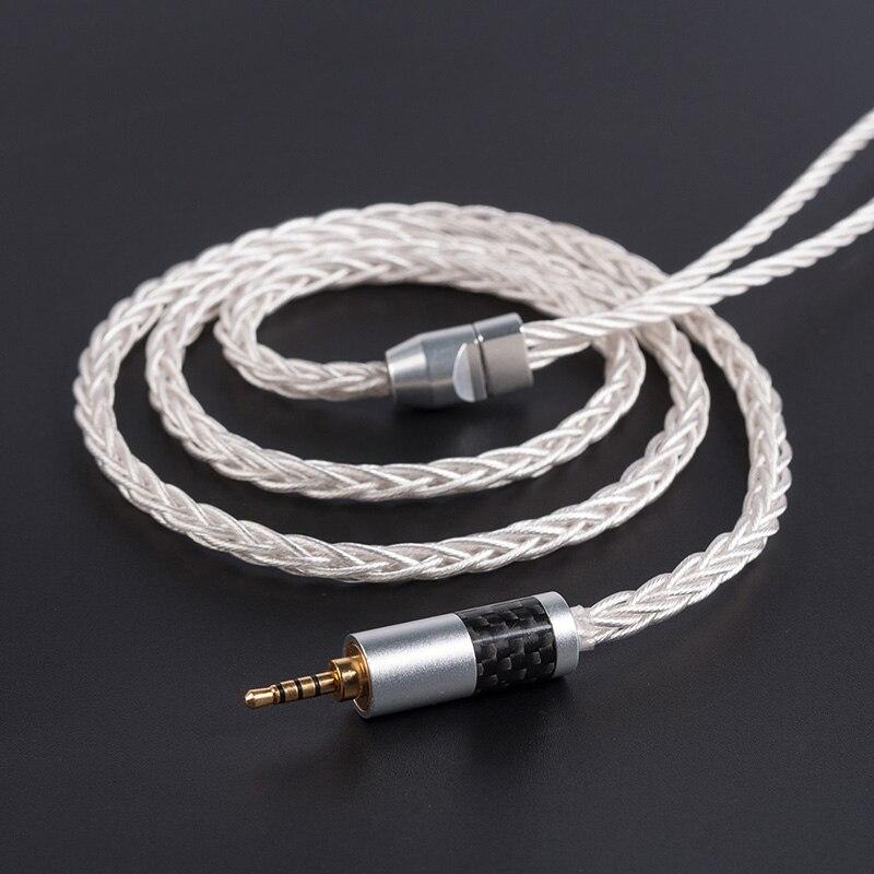 Yinyoo 8 Core 7N монокристаллической Медь Модернизированный кабель 2,5/3,5/4,4 мм с 2PIN/интерфейсом MMCX отсоединяется, AS10 олова T2 T3 C16 Blon-03