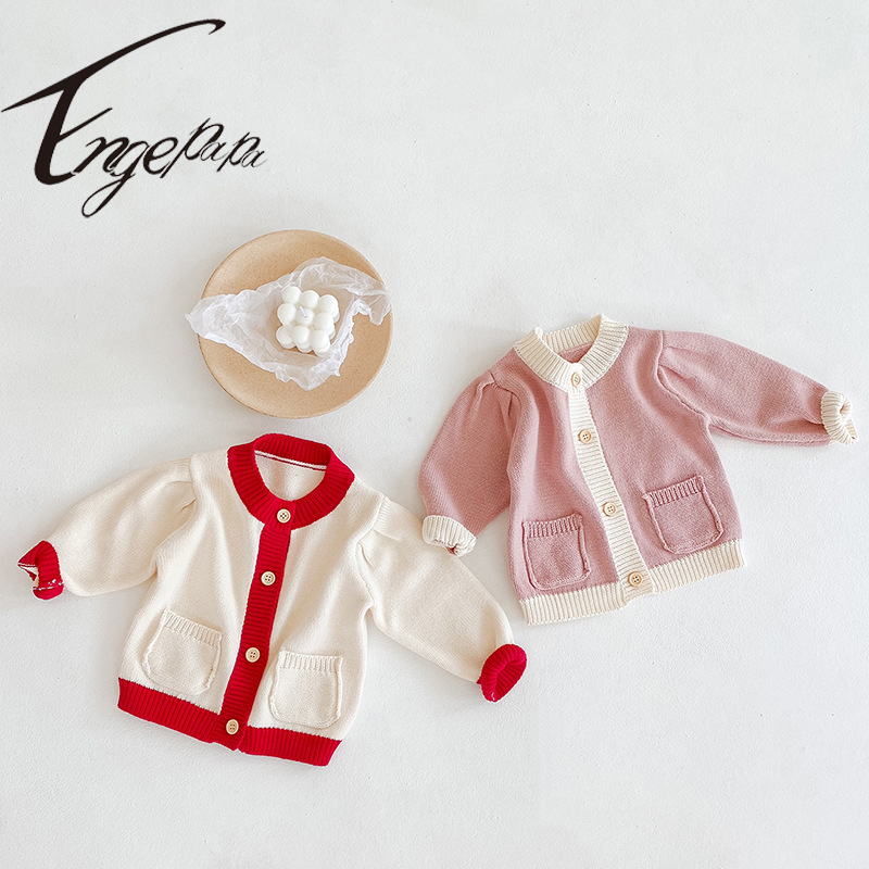 Engepapa Korean Style Kids Knitted Cardigan Jacket Spring Autumn Winter Newborn Baby Girl Sweater Long Sleeve Coat