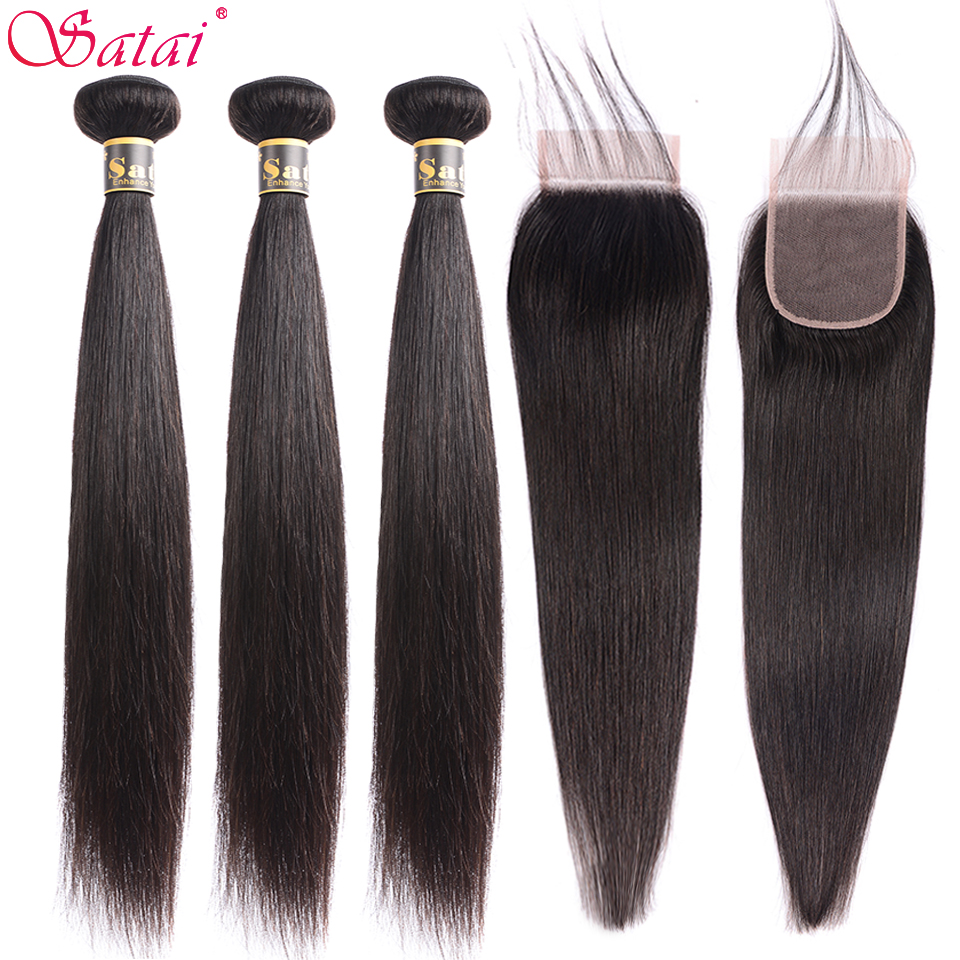 Satai Hair Extension Straight Hair Bundles With Closure 100% Non Remy Human Hair Bundles With Closure Peruvian Hair Bundles