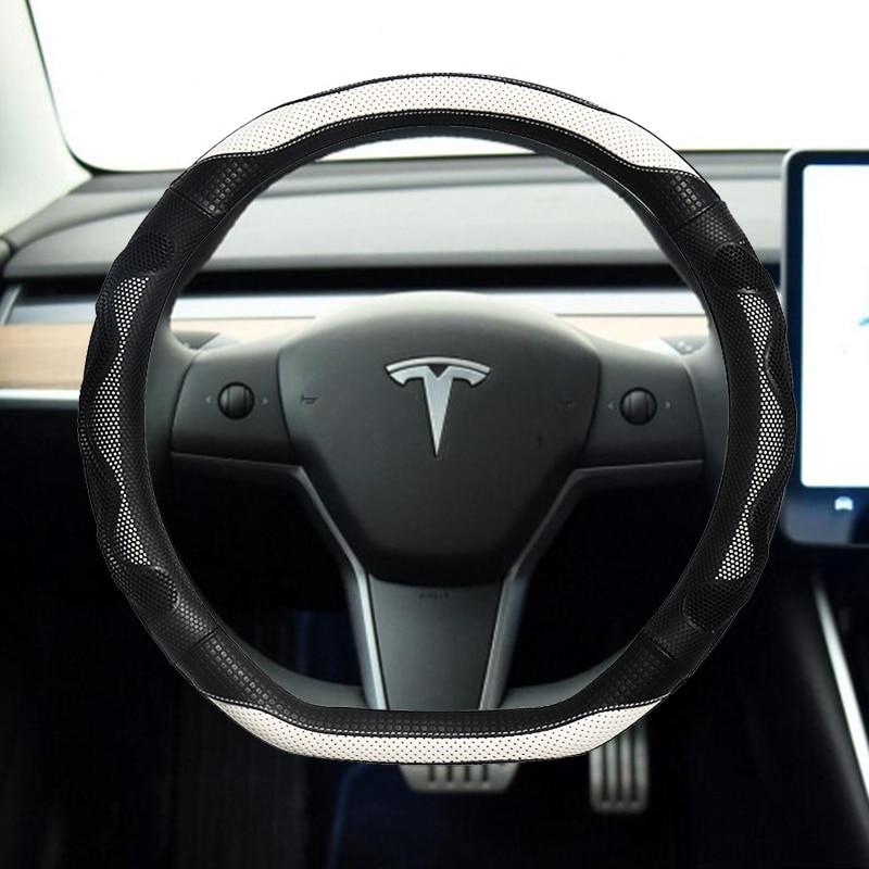 for Tesla Model 3 2017 2018 2019 2020 Car Steering Wheel Cover Non-slip Micro Fiber Leather Auto interior Accessories