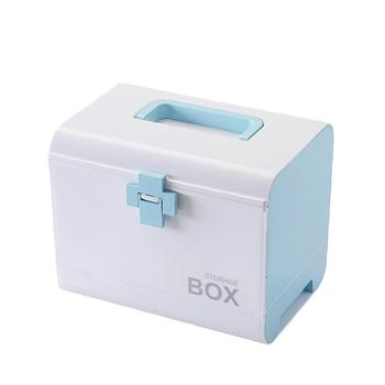 Plastic Medicine Storage Box Blue Household Medicine Box with Divided Compartment Multi Layer First Aid Kit Large Capacity Home -