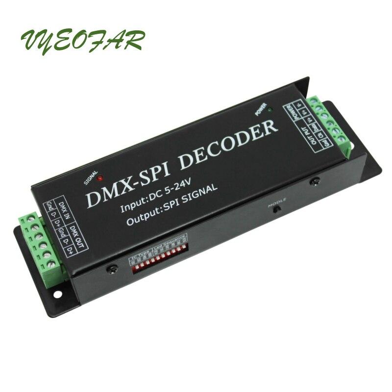 Nouveau LED décodeur DMX à SPI pour 2801 6803 2812 2811 bande IC DMX200 DC5V 12V 24V entrée 512 Point SPI TTL signal LED de contrôle