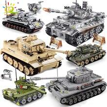 Huiqibao軍事ドイツキングタイガータンクモデル構築ブロック陸軍WW2兵士男武器レンガ子供少年おもちゃギフト