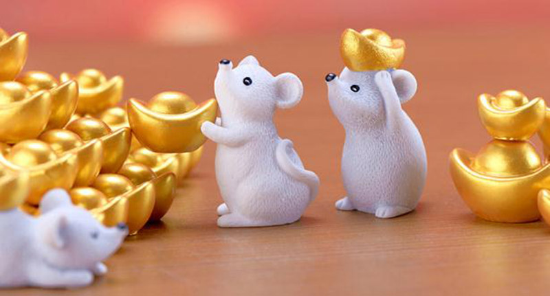 Money Fortune Cartoon Mouse Ornaments Rich Mice Small Statue Little Figurine Desktop Crafts Cute Animal home Decoration 1PC