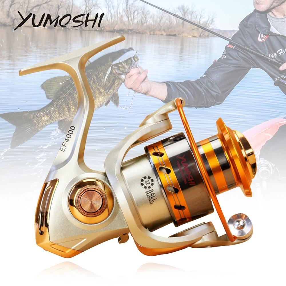 Metal Spool Spinning Fishing Reel 5.2:1 12BB Ball Bearings Carp Fishing Reel EF1000 7000 Series Mulinelli Spinning 2020|Fishing Reels| |  - title=