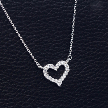 DXJEL Republic Dropship Suppliers 100% 925 Sterling Silver Love Heart Necklaces for Women Vip Link Dropshipping Center 2020 image