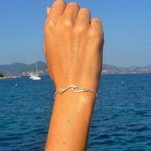 Pulseira com onda marítima, joia feminina simples unissex elegante e prateada liga de zinco