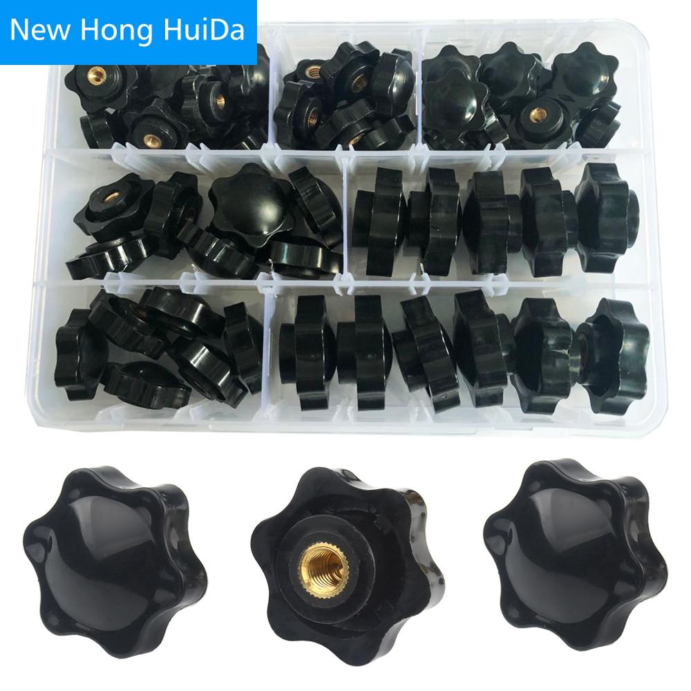 Plum Hand Tighten Nuts Handle Thread Star Mechanical Knob Thumb Clamping Blind Though Black Nut M4 M5 M6 M8 M10 Assortment Kit