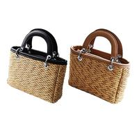 Straw Bag Ladies Beach Bag Hit Color Portable Small Square Bag Shoulder Messenger Bag Rattan Bag Straw Woven Bag Women Crossbody