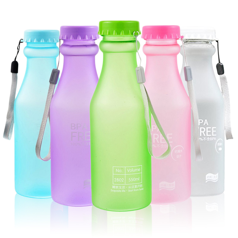 Water-Bottle Unbreakable Plastic Yoga Running 550ml for Travel Camping Fit Students Frosted
