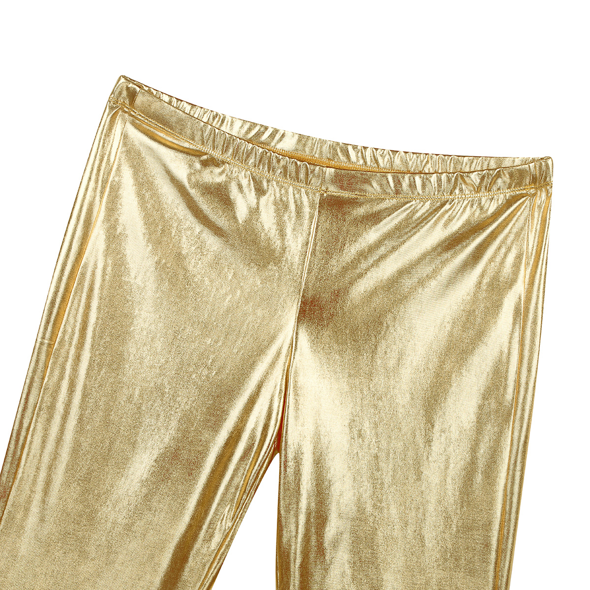ChicTry Adults Mens Shiny Metallic Disco Pants with Bell Bottom Flared Long Pants Dude Costume Trousers for 70's Theme Parties 44