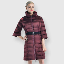 2020 Winter Women's Warm Parka Women Windproof Stand-Up Collar Coat Elegant High Quality Slim Jacket With Belt Oversized(China)