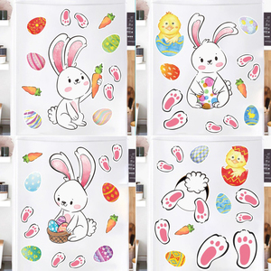 Image 3 - 2021 Easter Window Stickers Bunny Egg Carrot Stickers Decal Happy Easter Decor for Home Xmas New Year Party Self Adhesive Tattoo