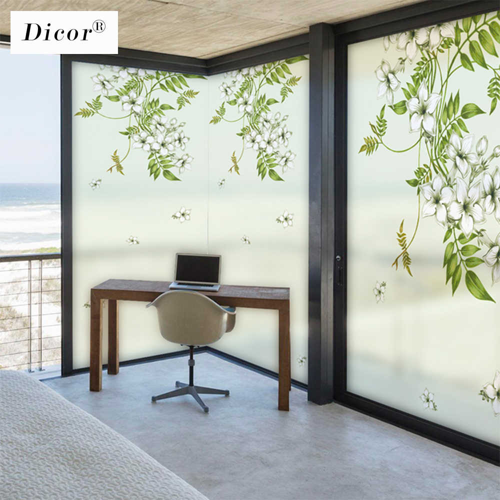 DICOR Static Cling Window Film Fiori Opaco Satinato Privacy Stained Glass Sticker per Complementi Arredo Casa Finestra Adesivi Foglie Verdi