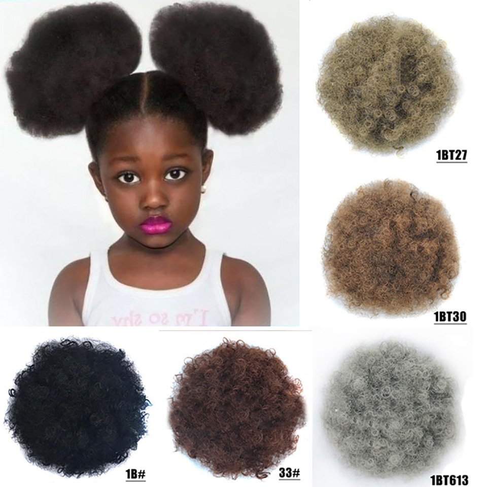 High Puff Africa Curly Wig Ponytail Drawstring Short Afro Kinky Tail Clip In On Synthetic Curly Hair Bun Ornament Children's Wig