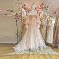 В стиле ретро, из тюля кремового цвета, вечерние платья с буфами на рукавах Длинные рукава Винтаж кружева Длинные вечерние платья с открытым...