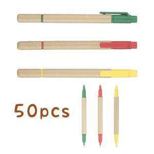 Image 1 - Lot 50 stücke Ball stift Highlighter ECO Papier Stift 2 in 1 Kugelschreiber Fluoreszierende Werbe Personalisierte Geschenk Anpassen Messe Giveaway
