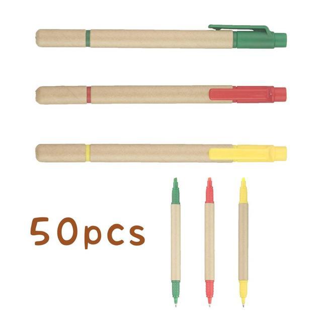Lot 50 stücke Ball stift Highlighter ECO Papier Stift 2 in 1 Kugelschreiber Fluoreszierende Werbe Personalisierte Geschenk Anpassen Messe Giveaway