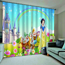 rainbow Cartoon curtains kids Curtains Decoration European 3D For Living room Blackout girls