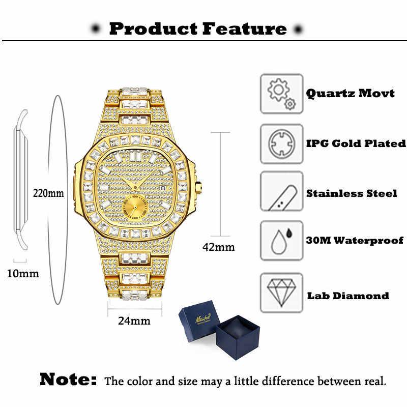 באופן מלא בגט Dimaond שעון גברים MISSFOX Pp נאוטילוס 7014 מעצב מותג שעונים לגברים יוקרה למעלה מותג Mens פטק יד שעון