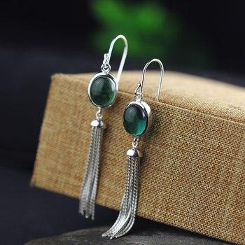 Character tassel earrings silver items S925 pure silver ornaments design green zircon eardrop of fashion lady