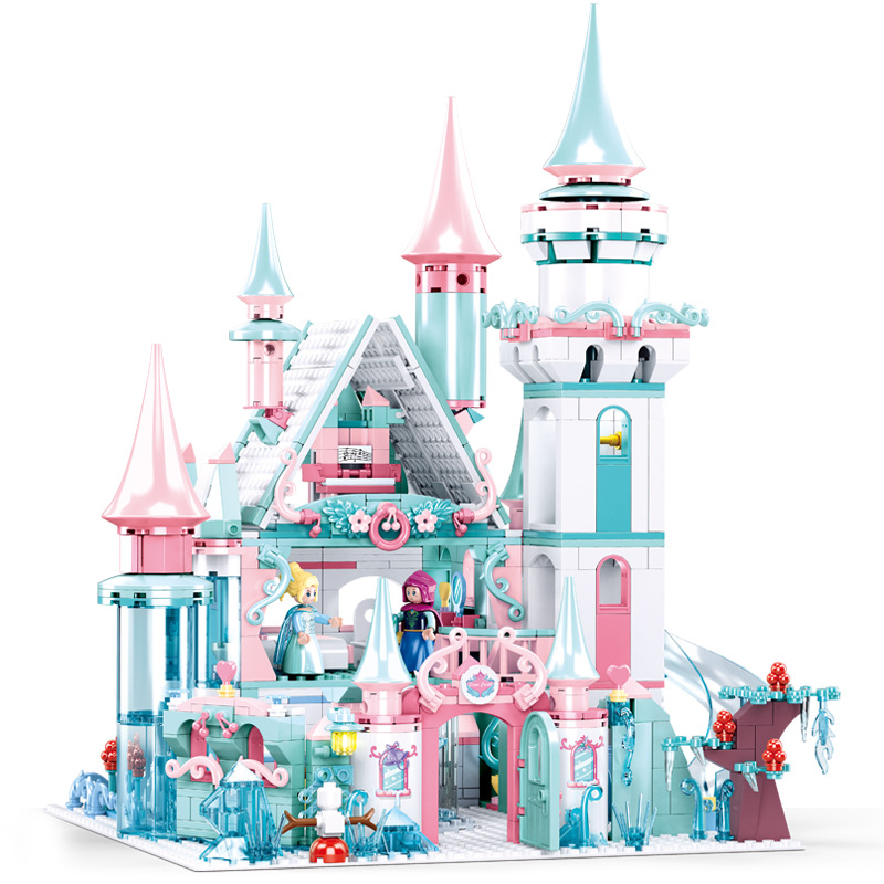1314pcs Snow World Series Magical Ice Castle Set Girls Building Blocks Compatible Lepining Bricks Toys Girl Friend Gifts