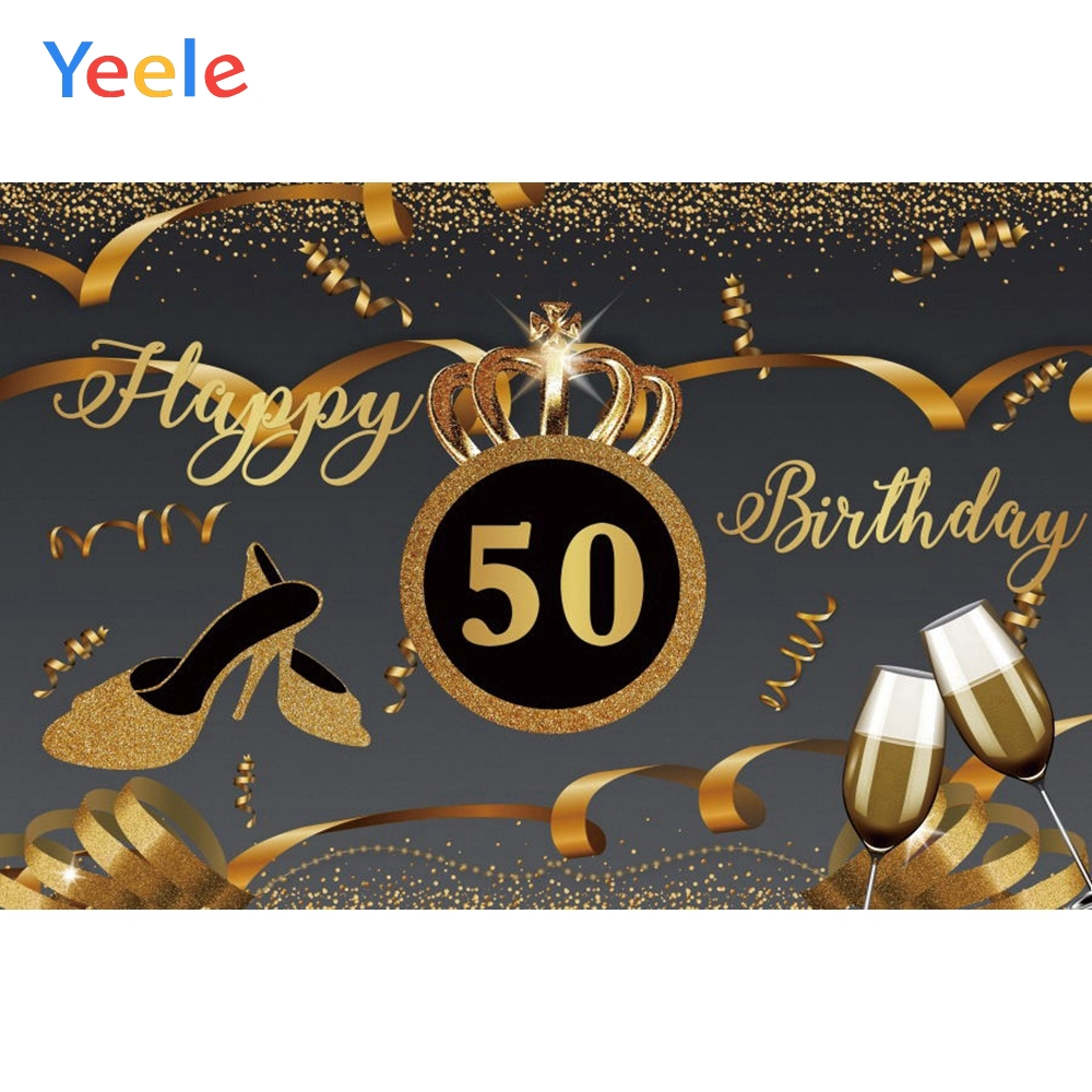 <font><b>Happy</b></font> <font><b>50th</b></font> <font><b>Birthday</b></font> <font><b>Backdrop</b></font> Golden Crown High Heels Wine Custom Photography Background For Photo Studio Photophone Photocall image