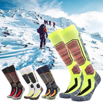 Mężczyźni kobiety jazda na rowerze wspinaczka narciarstwo piesze wycieczki skarpetki dla dorosłych skarpety narciarskie termiczne bawełniane Snowboard skarpetki na zewnątrz ciepłe dla uprawiających sporty zimowe tanie i dobre opinie Pończochy Skiing