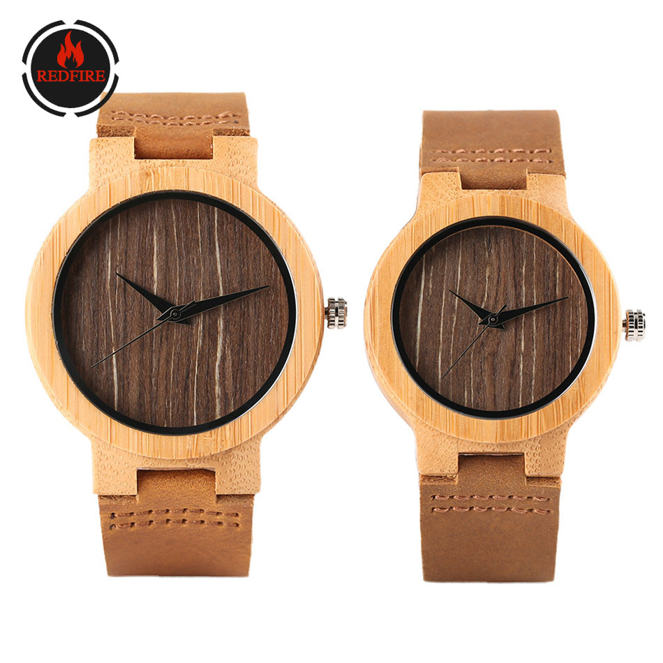 REDFIRE Vintage Brown Dial Wood Watch Couple Genuine Leather Wristwatch Quartz Timepiece Lovers Clock Gifts Los Amantes Miran