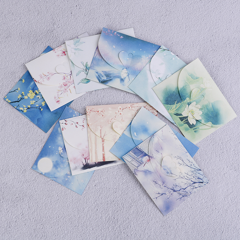 10pcs Cute Chinese Vintage Style Flowers Paper Envelope For Letter Creative Stationery Paper Postcards Card Scrapbooking