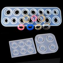 6 14 otwory pierścienie formy Handmade DIY dokonywanie pierścień biżuteria silikonowe formy przezroczysta żywica epoksydowa formy żywicy epoksydowej do tworzenia biżuterii tanie tanio SayMakerLace CN (pochodzenie) Foremki 1inch 6 14 Hole Rings Mold