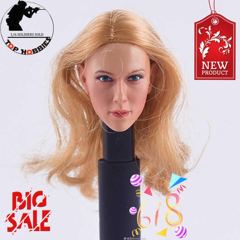 "1/6 scale Action Figure Accessorio 13-92 1:6 KUMIK Testa Femminile Scolpire Bionda Capelli Ricci Fit 12 ""Hot giocattoli 1/6 Ph TBleague JIAOUbody"