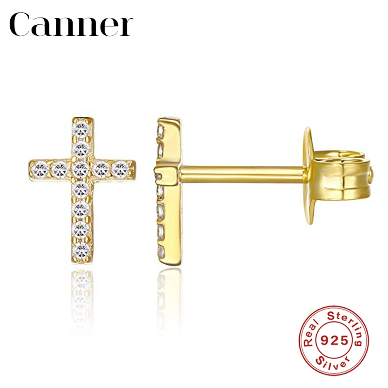 Simple Geometric Cross Gold Silver Earrings for Women Minimalist 925 Sterling Silver CZ Zircon Stud Earrings Fashion Jewelry